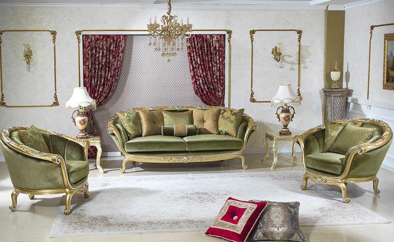 Yesil Renkli Klasik Koltuk Luxury Living Room Design Classic Sofa Sets Luxury Sofa