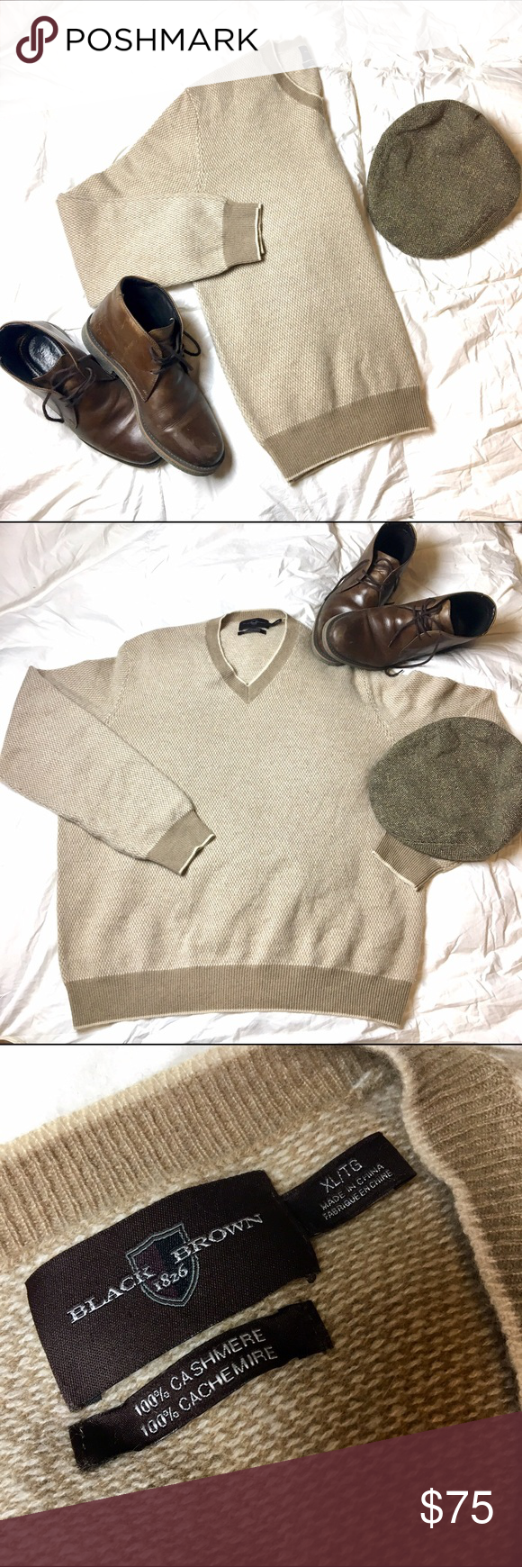Offers 🚨 100% Cashmere Sweater Black Brown 1826 | Cashmere ...