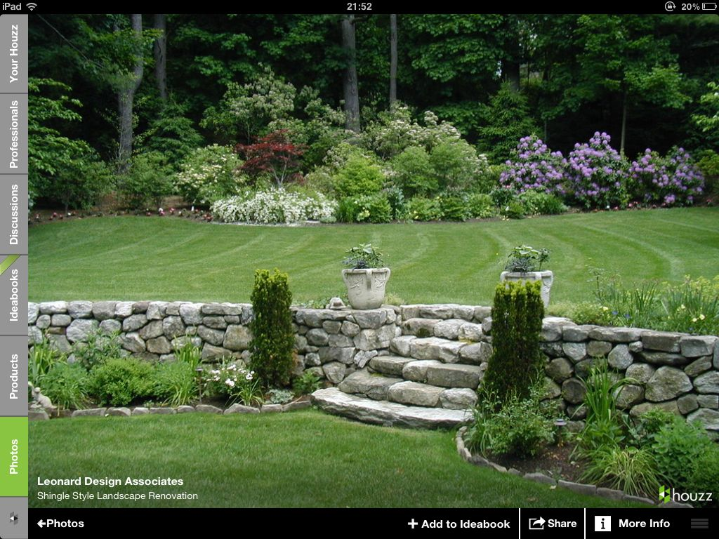 Stone Wall With Elevation Change Natural Stone Steps Garten Landschaftsbau Gartentreppe Steinmauer Garten