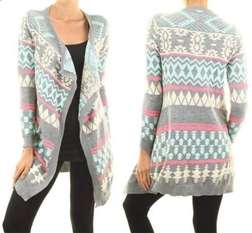 Grey-Mint-Pink-Ivory-Aztec-Tribal-Knit-Long-Sleeve-Open-Cardigan ...