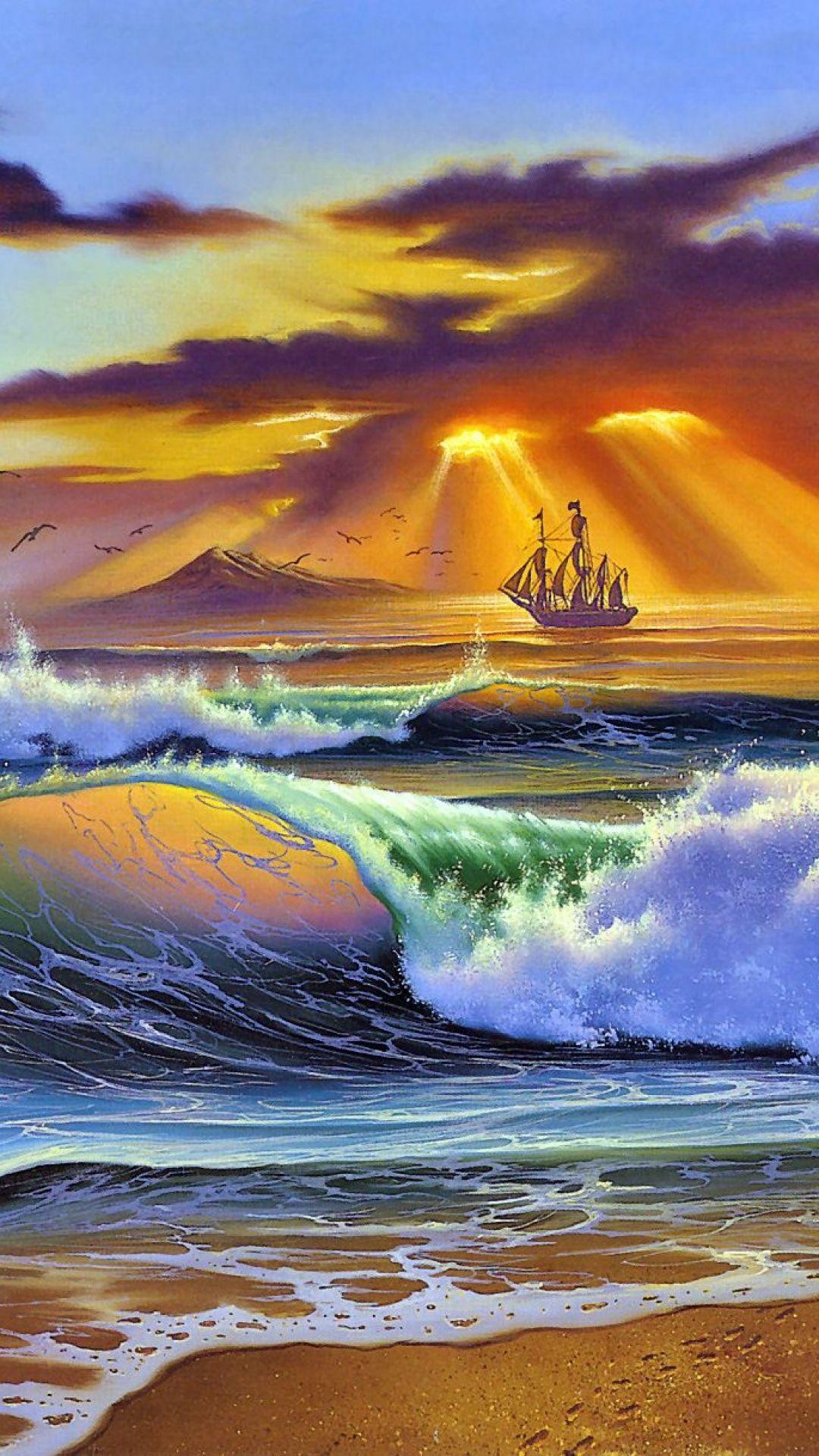 sea, beach, art, painting, craft, sun, rays, evening, storm