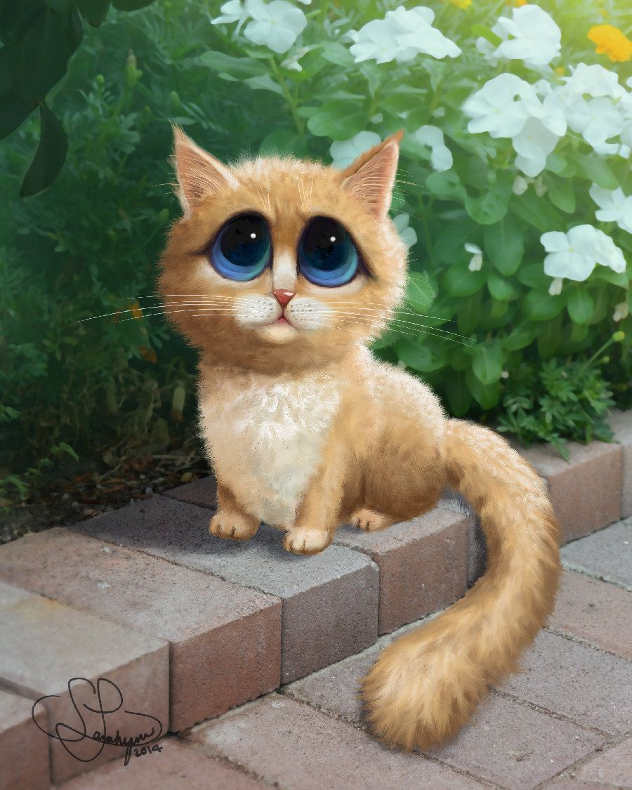 Sad Eyed Cat Painting, Margaret Keane Inspired, Fluffy