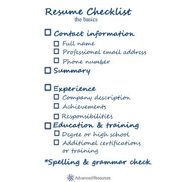Resume checklist - the basics Interview Guide Pinterest - guide for resume