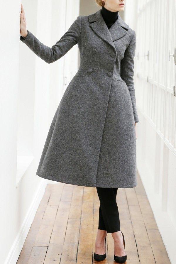 Long Manteau Ceintrée Gris