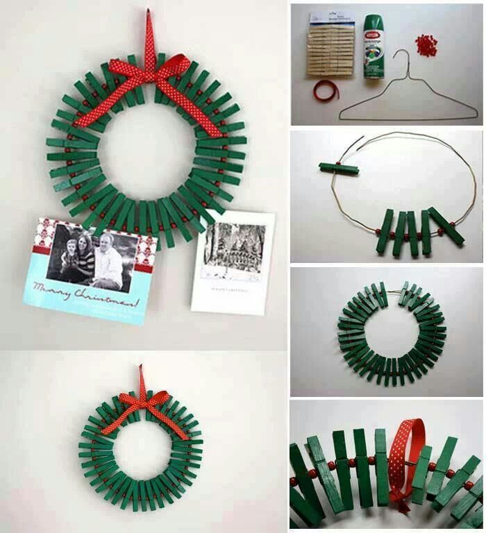 Use A Wire Hanger, Paint And Clothespins To Make This Adorable Christmas  Wreath / Christmas Card Holder.