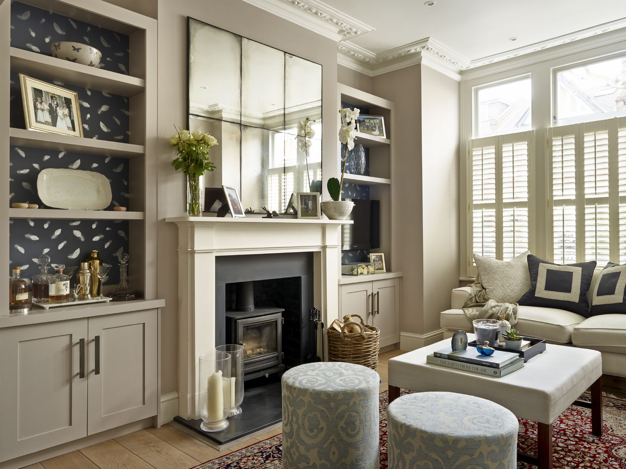 upholstered stools for living room. Lily Paulson Ellis Designs Living Room with antique mirror  joinery feature back wallpaper and upholstered stools