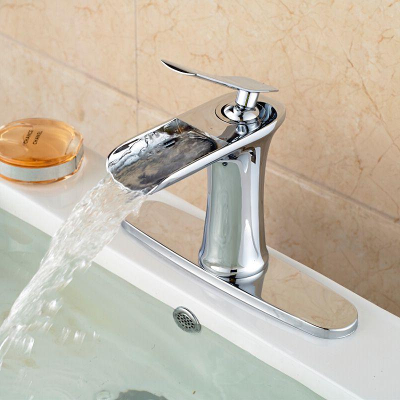 Chrome Widespread Waterfall Countertop Sink Faucet New Brass Deck ...