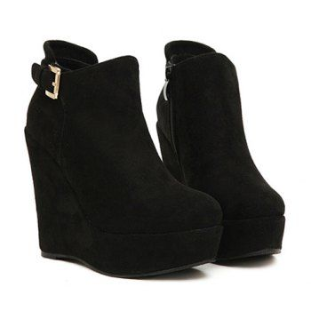 6aaa1c3b85 Fashion Buckle and Black Design Wedge Boots For Women, BLACK | BLACK ...