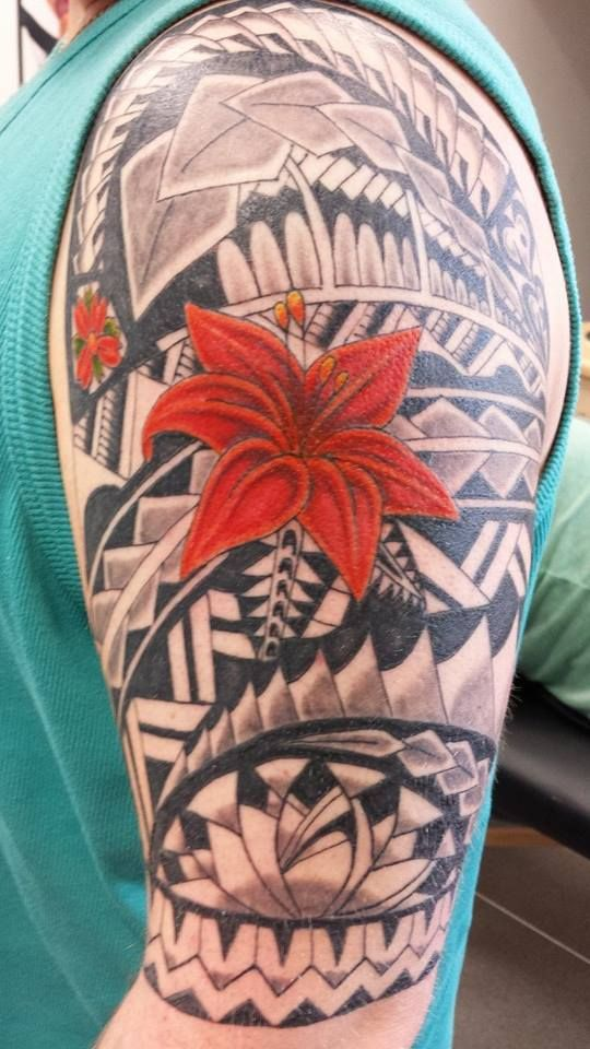 Tribal Tattoo With Color: Polynesian Tribal Flower Colour Tattoo Half Sleeve Mens