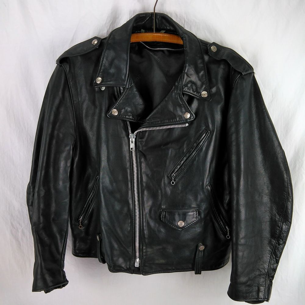 Vtg Schott Perfecto 125 Leather Jacket Size 44 No Lining Black Leather Biker Leather Jacket Jackets Black Leather [ 1000 x 1000 Pixel ]