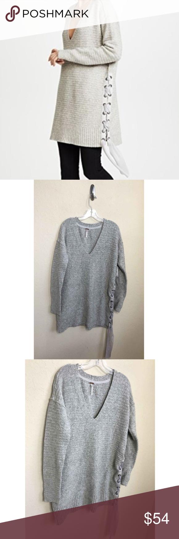 Free People Heart It Lace Up Sweater Tunic Size XS NWT Free People Heart It  Lace 69bf1e7c6