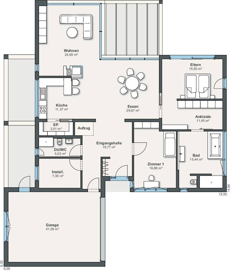 Ebenleben bungalow haus grundriss weberhaus haus for Beste grundrisse