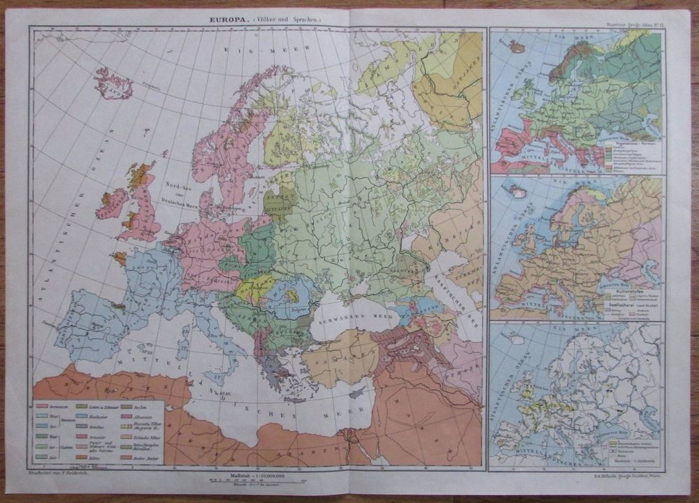 Europa Volker Und Sprachen 41x29cm Alte Karte Aus 1912 Old Map