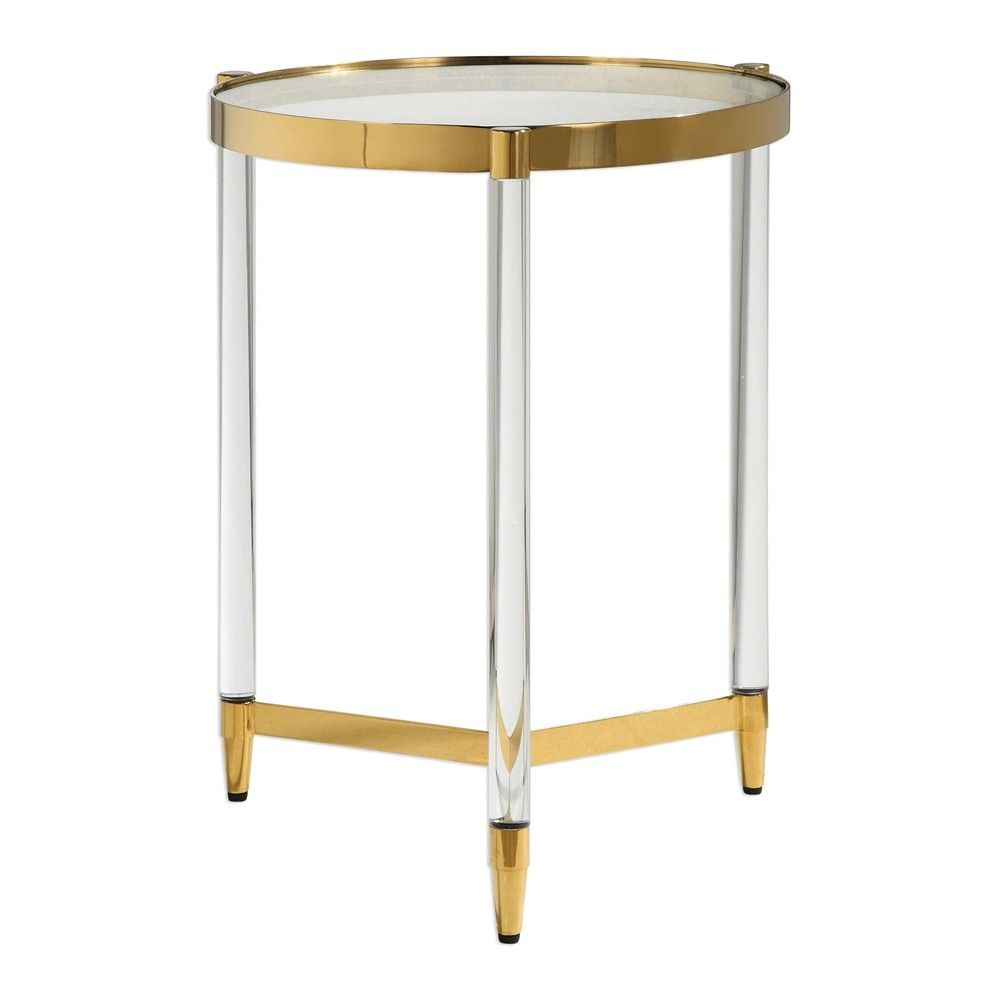 Use this unique and glamorous accent table to hold up an ...