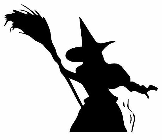 Witch And Broom Decal: Halloween Decor, Scary Decor