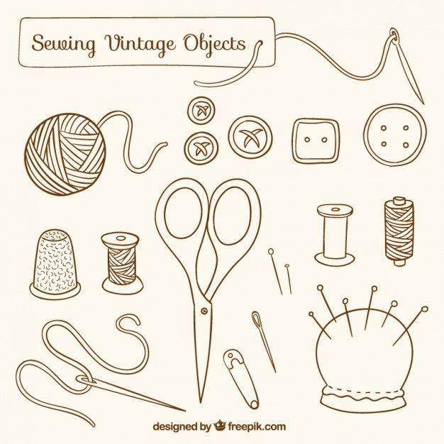 Objetos dibujados a mano de costura vintage Vector Gratis ...