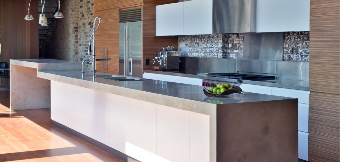 Polished concrete countertops in the kitchen http www for Polished concrete kitchen countertops