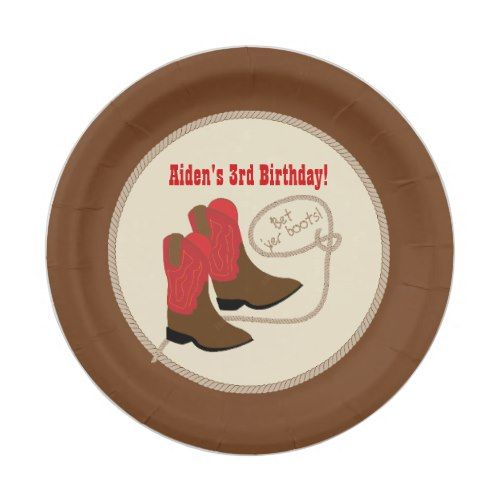 Red Cowboy Boots Western Birthday Party Paper Plate  sc 1 st  Pinterest & Red Cowboy Boots Western Birthday Party Paper Plate | Cowboy ...