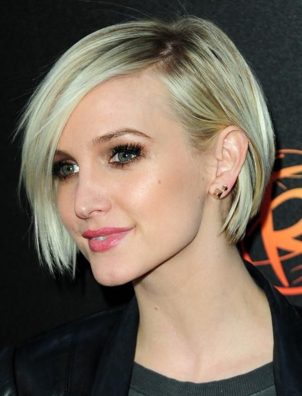 Ashlee Simpson Short Asymmetrical Layered Bob Haircut Styles Art