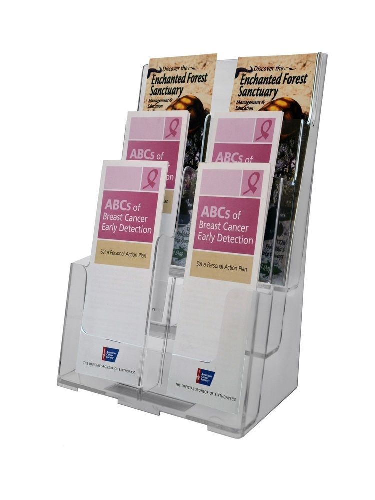 """Tiered 6""""W Brochure /& Product Catalog Holder Lot of 12 Clear Acrylic 4 Pocket"""