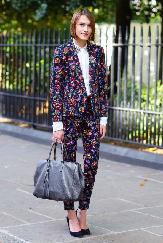 I adore this suit - love the cropped trousers and the bold print. I think she looks stylish but also stands out. I am still looking for the perfect bold suit within my price range.