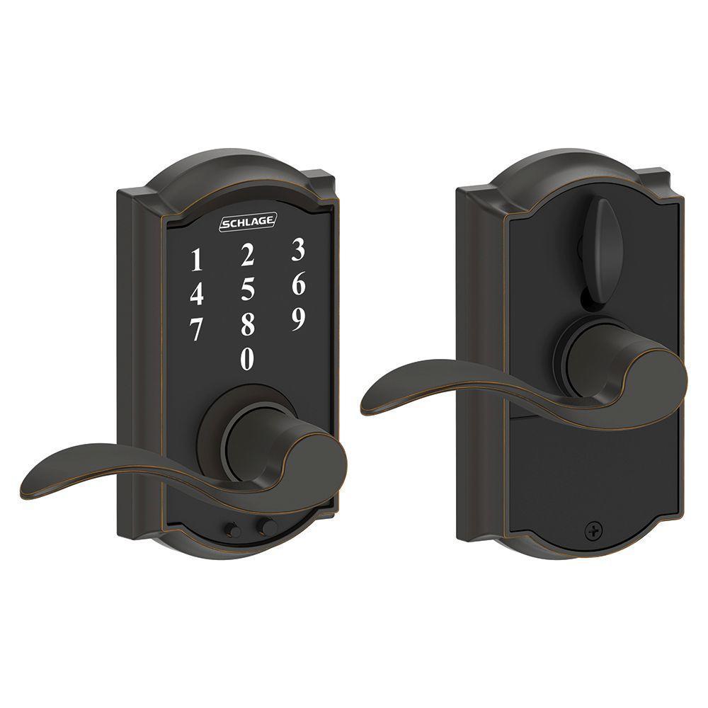 Schlage Camelot Aged Bronze Electronic Door Lock With Accent Door Lever Fe695 Cam 716 Acc In 2020 Door Levers Entry Doors Electronic Lock