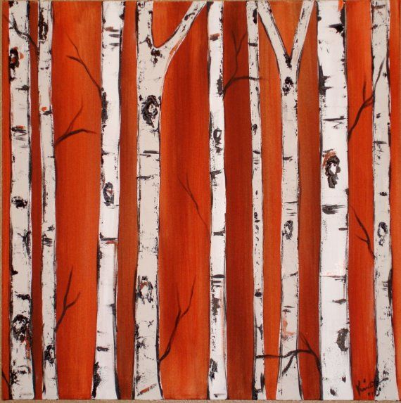 Birch Tress on Burnt Orange Commission with real by kristend12, $155.00