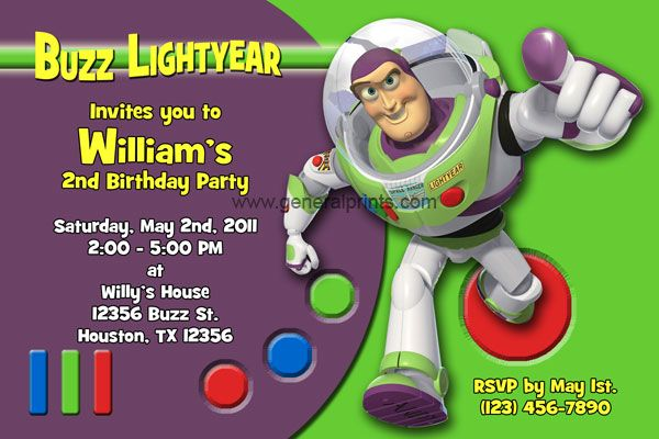 Buzz Lightyear invitation Gabes Party Ideas Pinterest – Buzz Lightyear Birthday Card