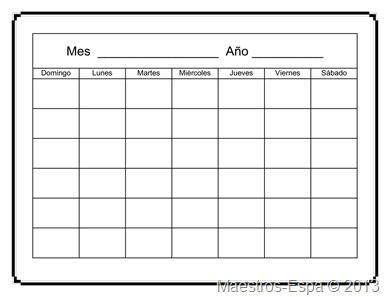 Plantilla de calendario en blanco recursos para maestros de espa ol octubre - Plantilla calendario de mesa ...