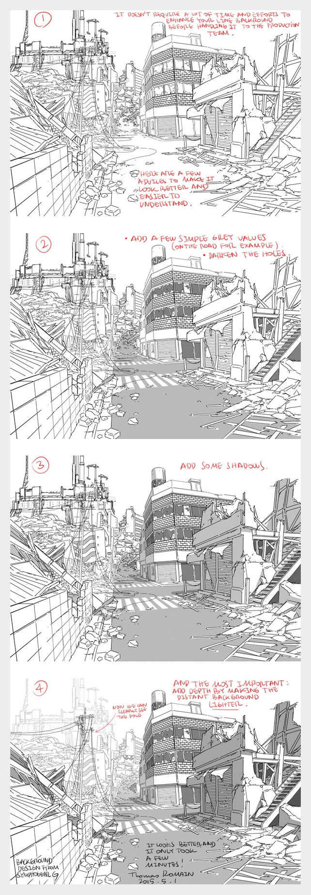 How To Enhance A Background By Thomas Romain One Of The Few Foreigners Working In The Anime Industry In Japan Background Drawing Drawing Tutorial Drawings