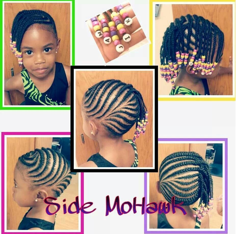 Kid hairstyles with beads kid hairstyles pinterest beautiful - Little Girl Cornrow Side Mohawk Braids