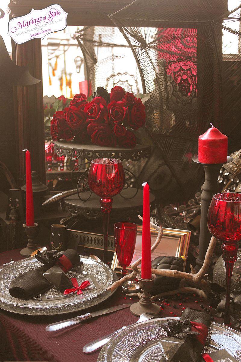 Deco De Table Bougie mariage gothique, décoration de table, ambiance rétro, noir