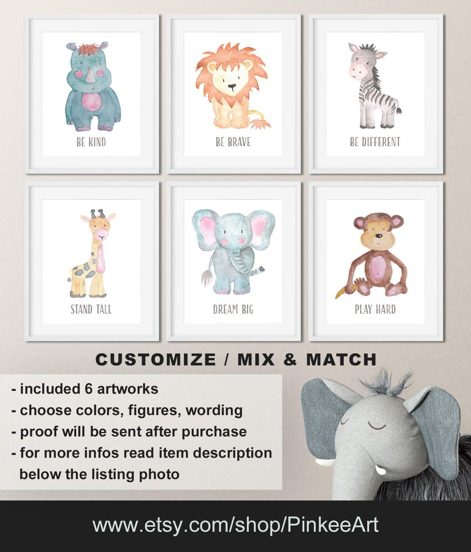 Watercolor Baby Animal Prints For Nursery Safari Animals Nursery