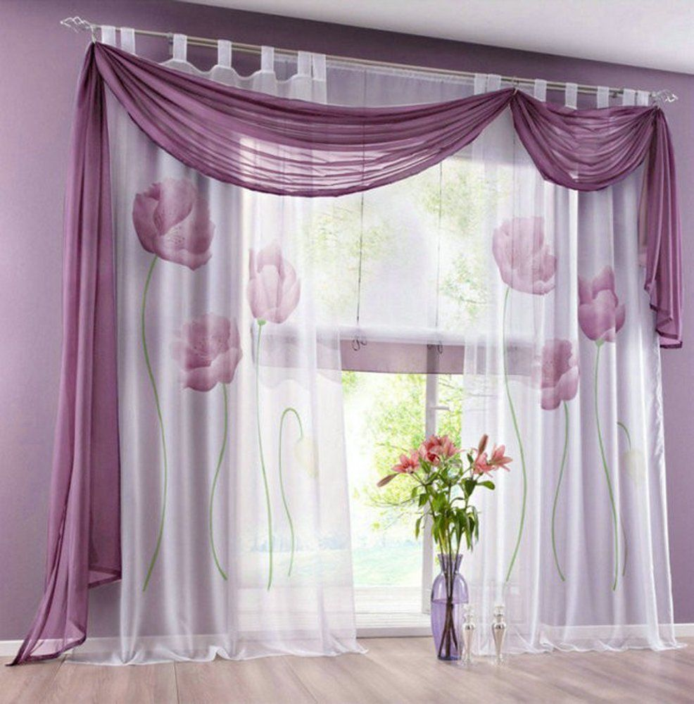 Window top decor  uphome pair elegance home decor lotus printing floral voile sheer