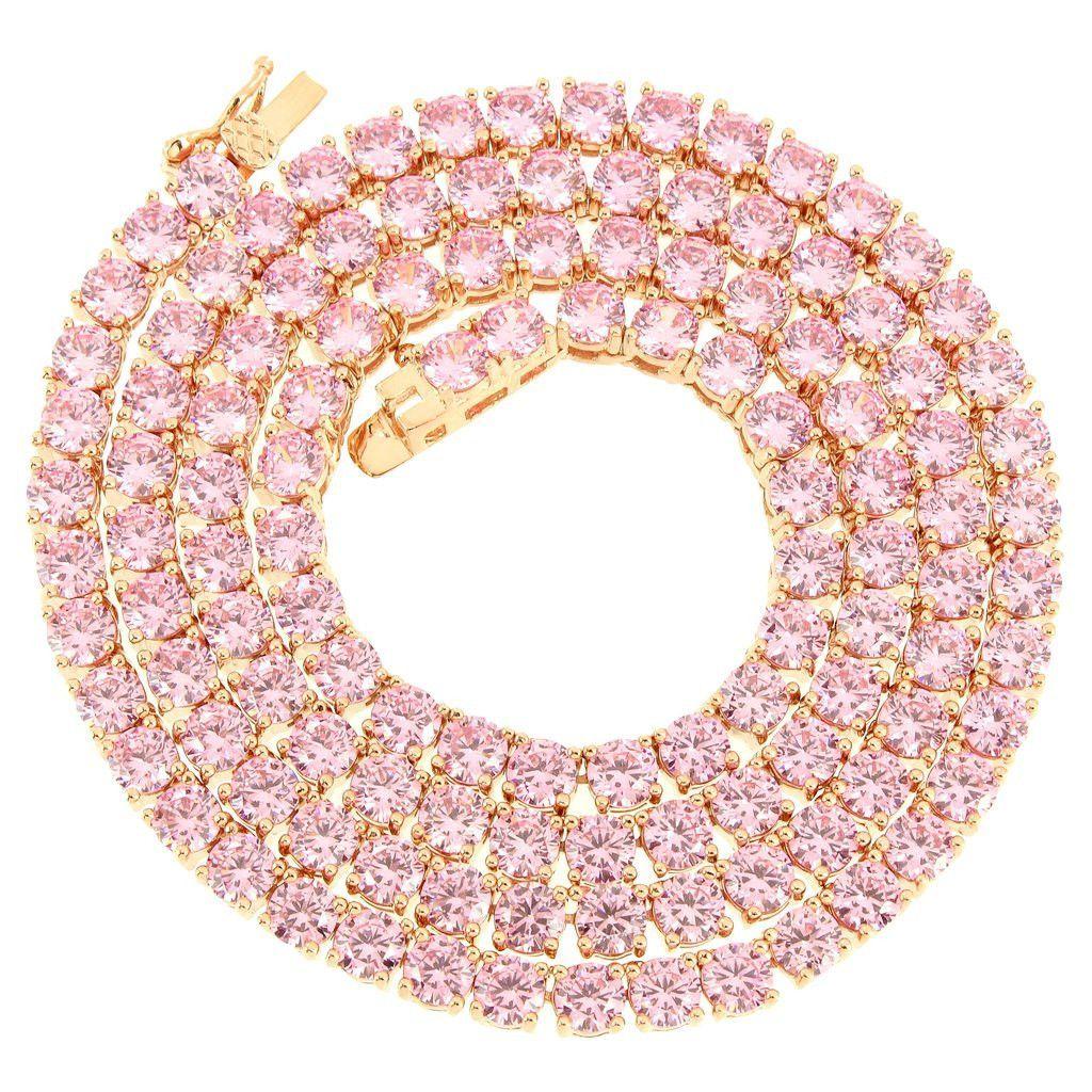 Pink Tennis Necklace Rose Gold Pink Diamond Pink Diamond Diamond Tennis Necklace