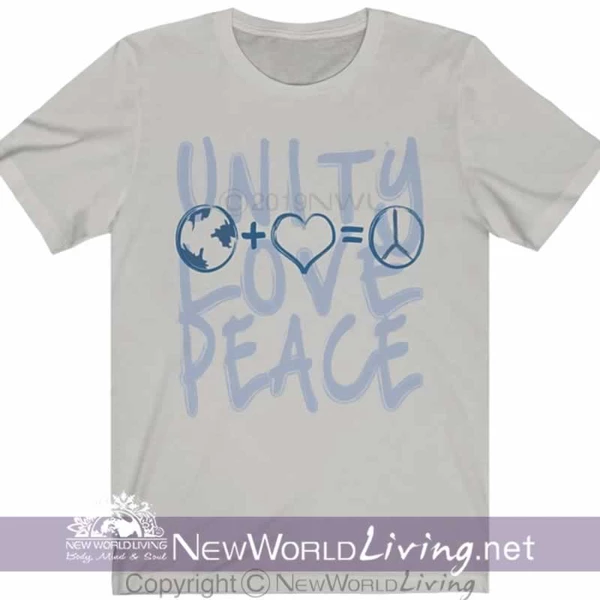 Unity + Love = Peace Unisex Tshirt – New World Living Unity + Love = Peace Unisex Tshirt sold exclusively by New World Living. In 6 colors in XS-3XL. Click our bio link to shop the Collection.