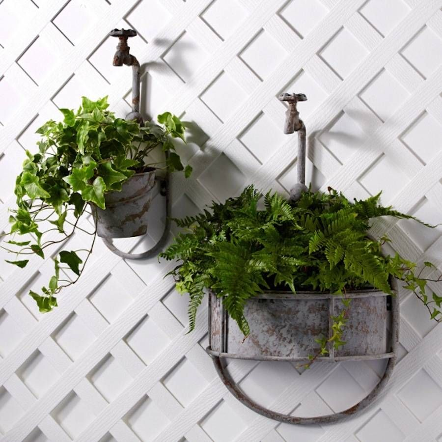 Vintage garden tap planter add a whimsical touch to your garden with one of these unusual - Wall mounted planters outdoor ...