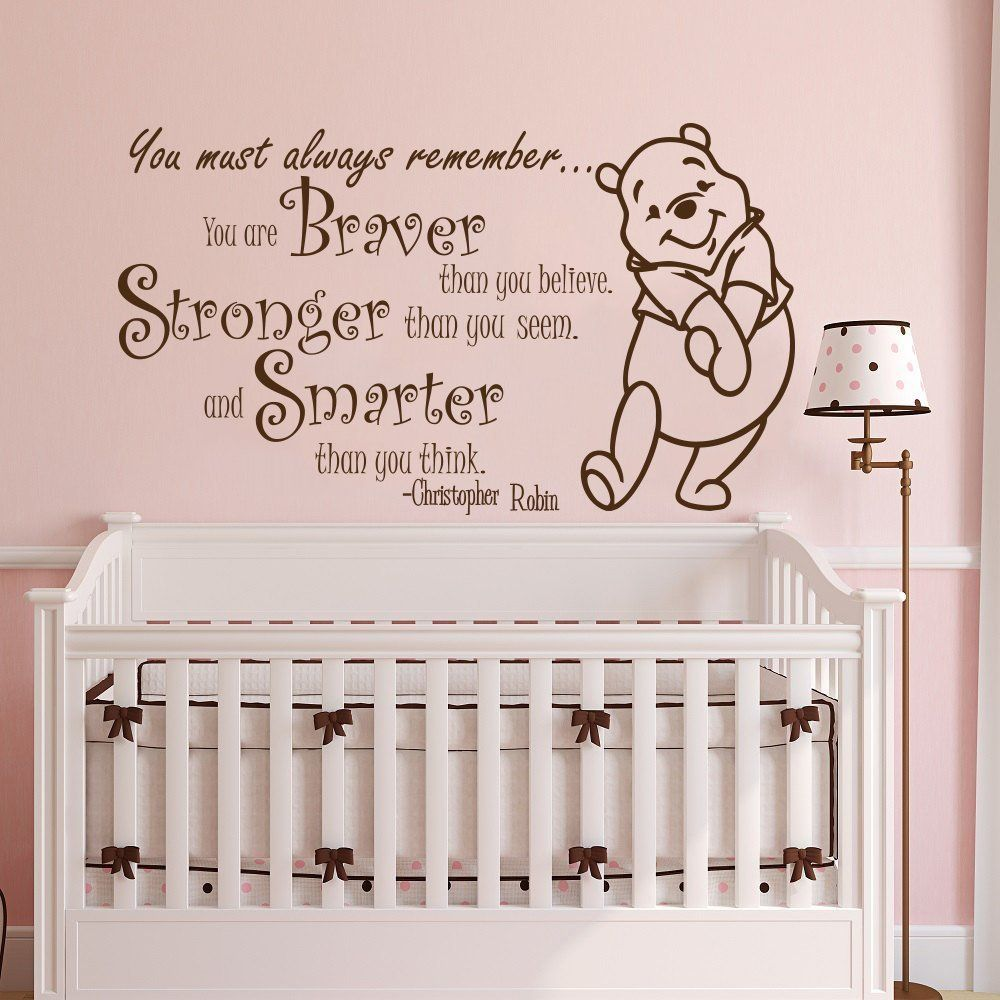 Winnie the pooh quote wall sticker vinyl sticker decals quotes winnie the pooh quote wall sticker vinyl sticker decals quotes braver stronger smarter wall decor nursery amipublicfo Image collections