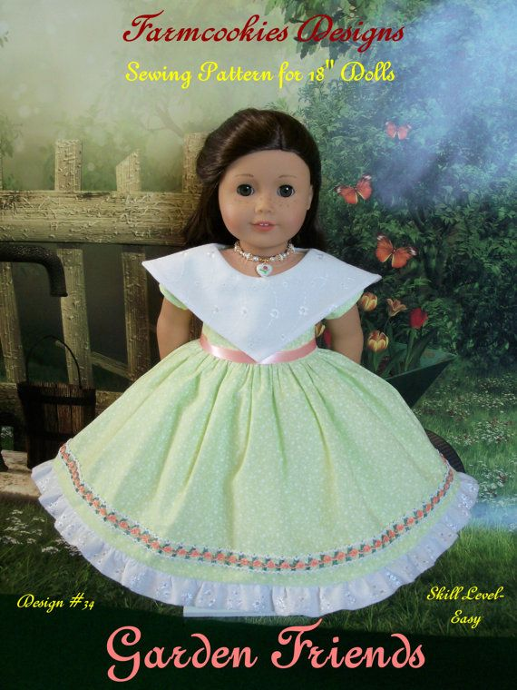 Like American Girl Doll Clothes Instant Download PDF Sewing Pattern / GARDEN FRIENDS/ Farmcookies 18 Inch Doll Clothes Fits American Girl® #bedfalls62