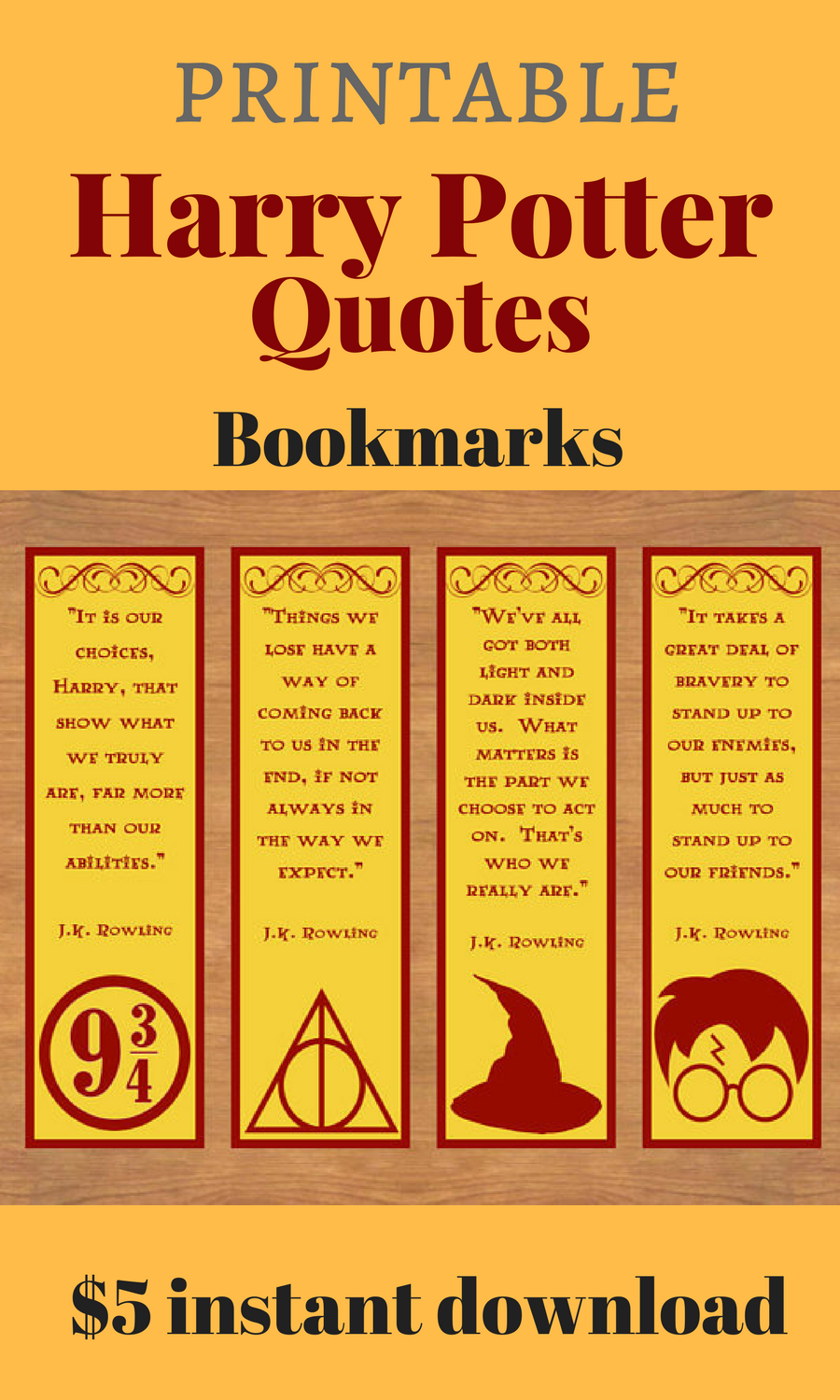 i love these quotes from harry potter! printable bookmarks, harry