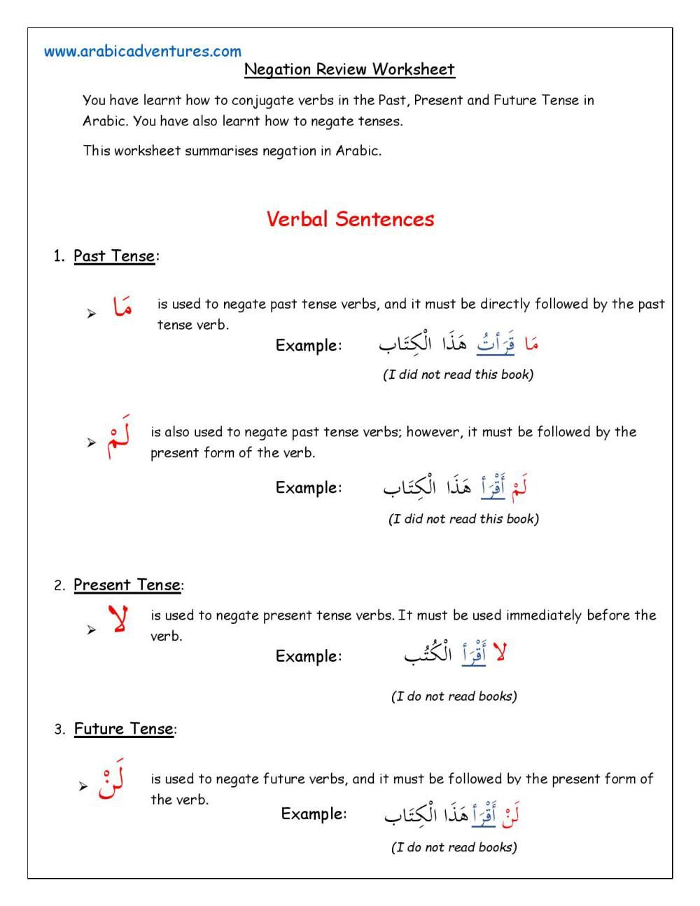 Negation Review Worksheet-page-001 | Arabic verbs, Learn