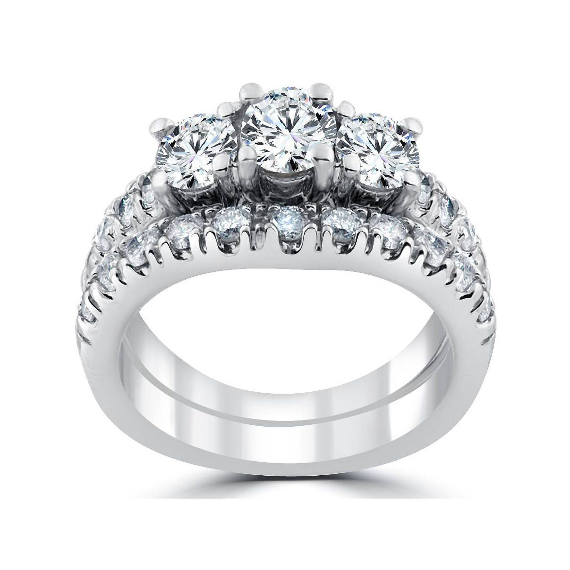 Pompeii3 1 1 2 Ct 3 Stone Diamond Engagement Ring Matching Wedding Band Set White Gold Walmart Com Engagement Ring Matching Wedding Band Matching Wedding Band Sets Wedding Band Sets