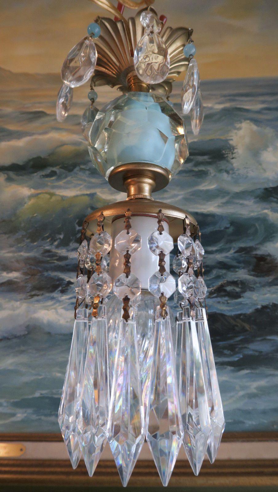 1o5 vintage swag ocean blue aqua brass hanging lamp chandelier 1o5 vintage swag ocean blue aqua brass hanging lamp chandelier crystal prisms ebay mozeypictures Images