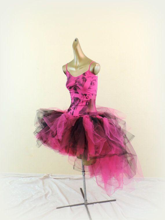 Adult tutu, womens tutu outfit, hot pink black, tye dye tie dye tutu ...