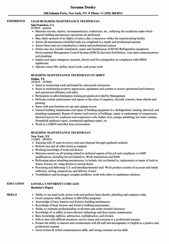Maintenance Job Description Resume Elegant Building