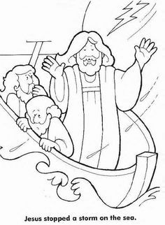 Jesus Calms the Storm colouring page | biblicas | Pinterest | Storms ...