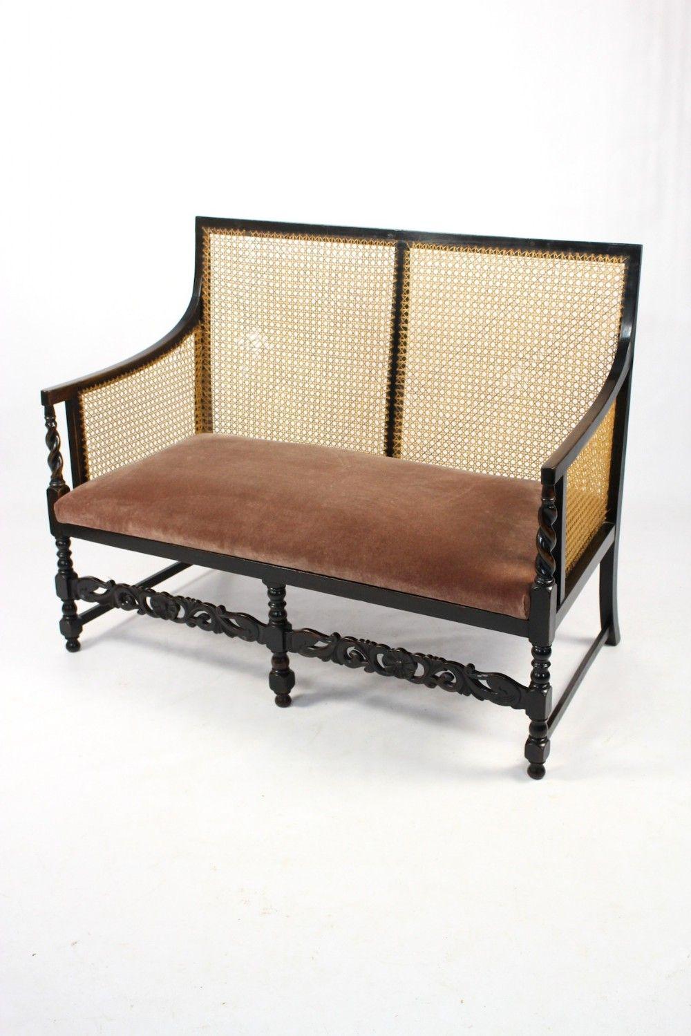 Antique Edwardian Ebonised Beech Bergere Cane Sofa Settee Seat