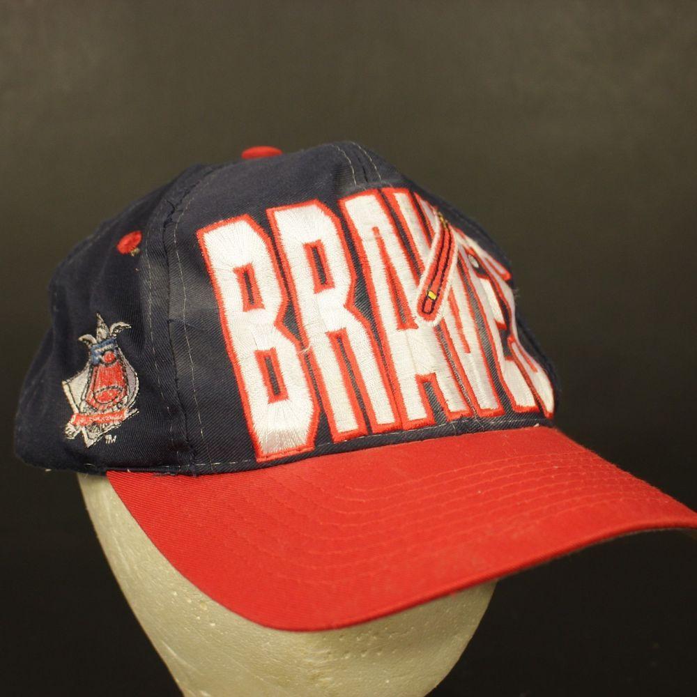 Vintage Atlanta Braves Hat Cap Snapback Retro Adjustable Blue Red Big Logo 7 Logo7 Baseballcap Atlanta Braves Hat Atlanta Braves Hats