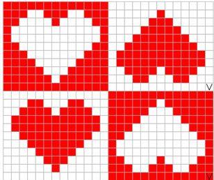 Quadrillage Pixel - Coeur 2 | Modèles à tricoter, Coeur pixel, Quadrillage