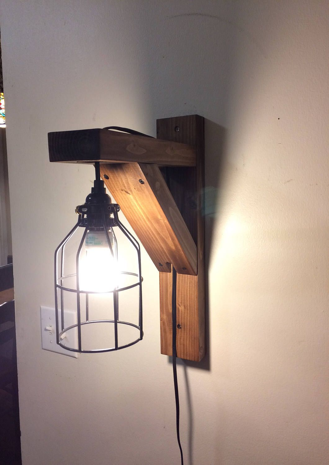 Wall Hanging Lamps rustic corbel light sconce, bedside light, rustic lamp, wall